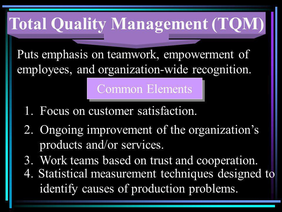Total Quality Management (TQM) Puts emphasis on teamwork, empowerment of employees, and organization-wide recognition. Common Elements 1. Focus on cus
