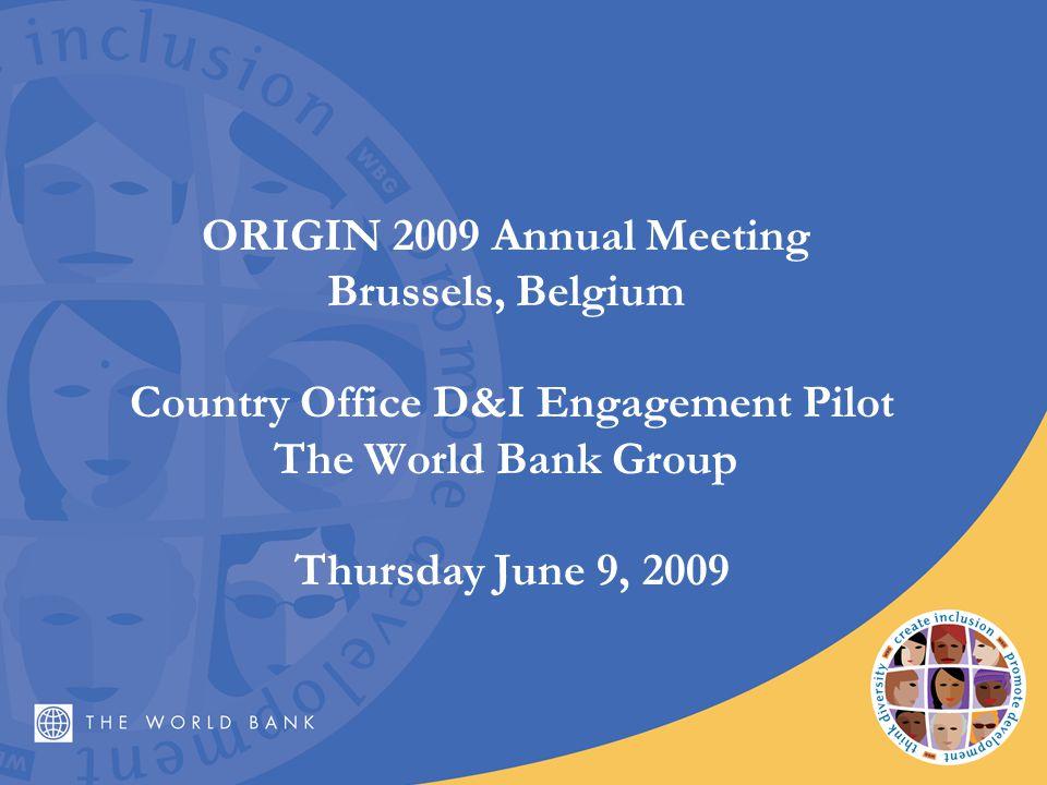 ORIGIN 2009 Annual Meeting Brussels, Belgium Country Office D&I Engagement Pilot The World Bank Group Thursday June 9, 2009
