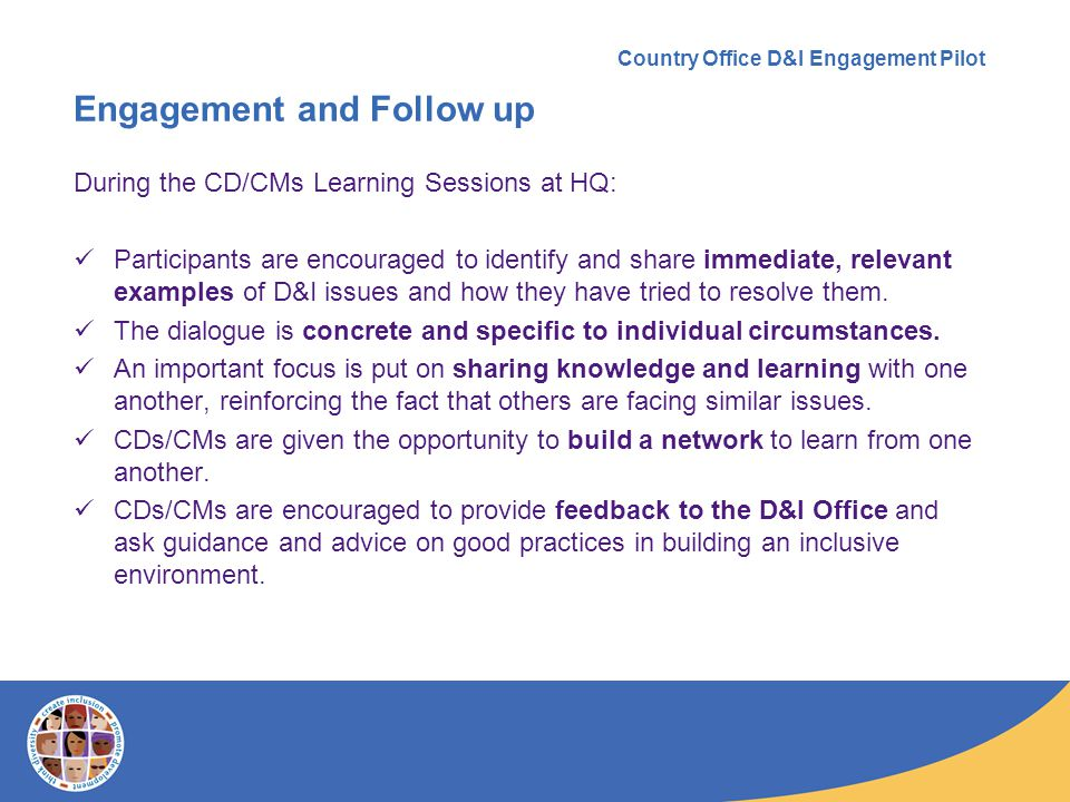 Measure of success: Metrics/ Key Performance Indicators (KPIs) The success of the CO D&I Engagement Pilot will be measured by: Positive feedback received from stakeholders and partners (CD/CM management, CO staff, HRS colleagues, the CRS, the Staff Association).
