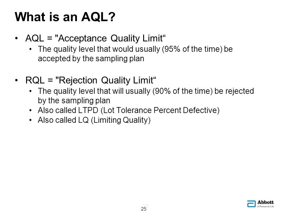 What is an AQL? 25 AQL =