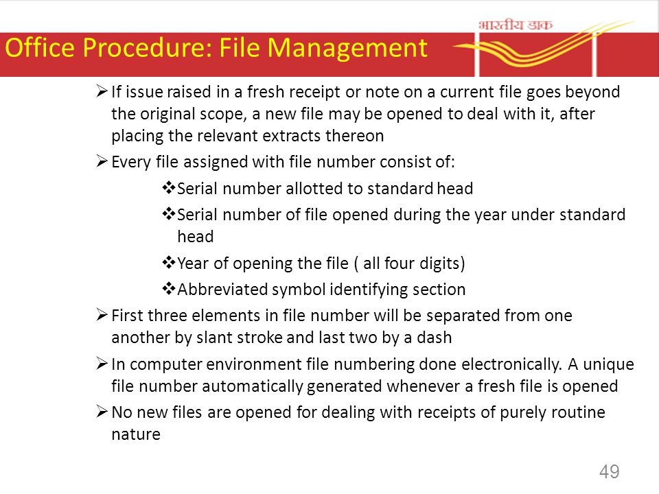 Office Procedure: File Management If issue raised in a fresh receipt or note on a current file goes beyond the original scope, a new file may be opene