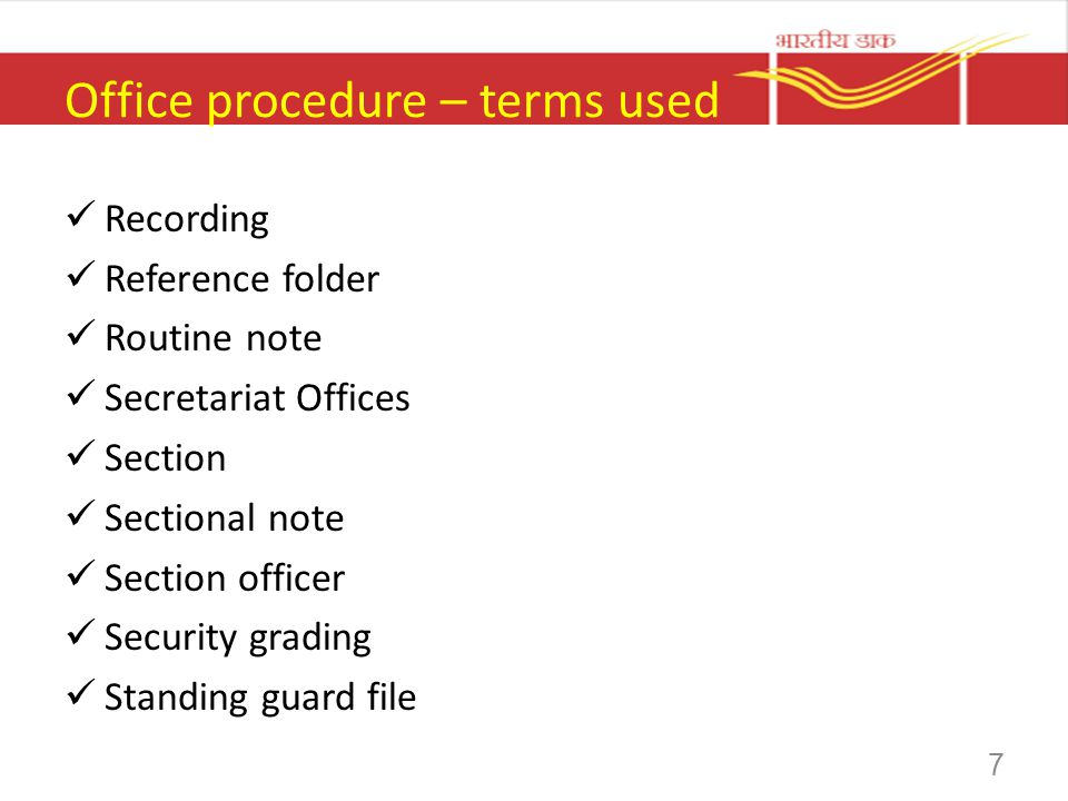 Office procedure – terms used Recording Reference folder Routine note Secretariat Offices Section Sectional note Section officer Security grading Stan