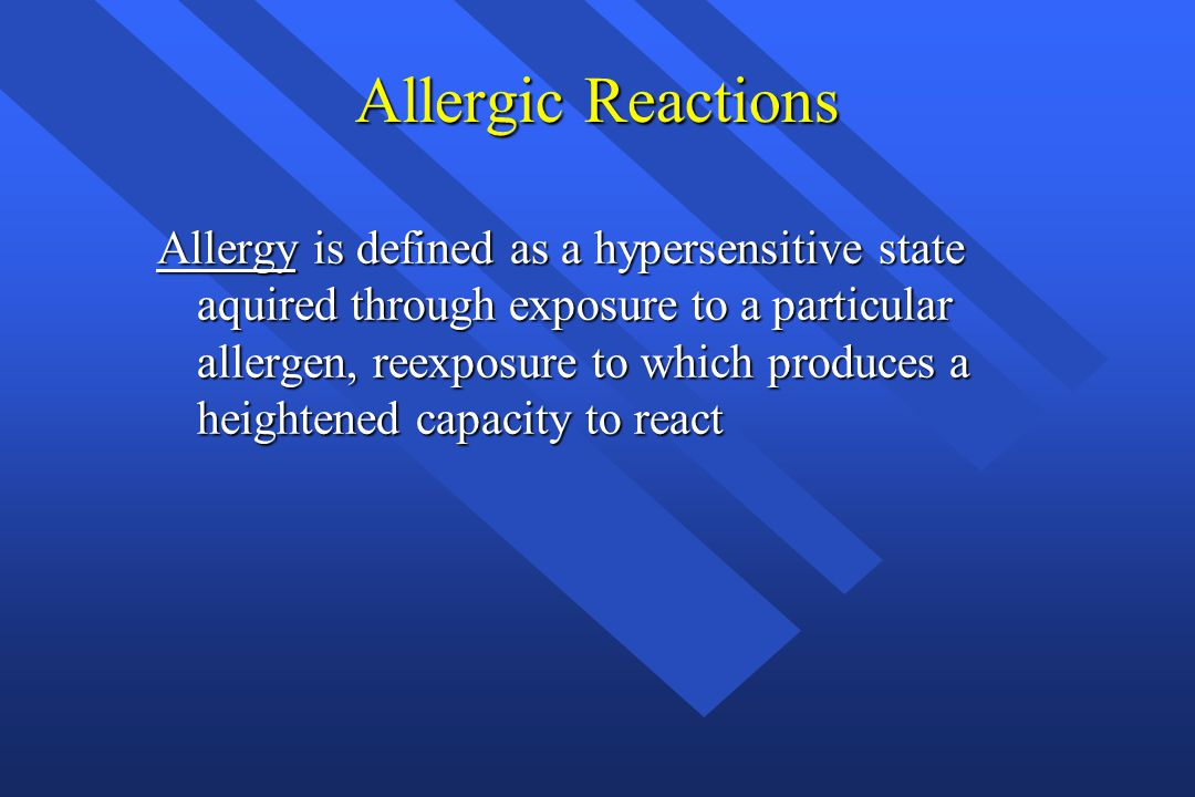 Allergic Reactions Allergic reactions range from mild, delayed reactions occuring as long as 48 hours after exposure, to immediate life-threatening reactions that occur within seconds after exposure