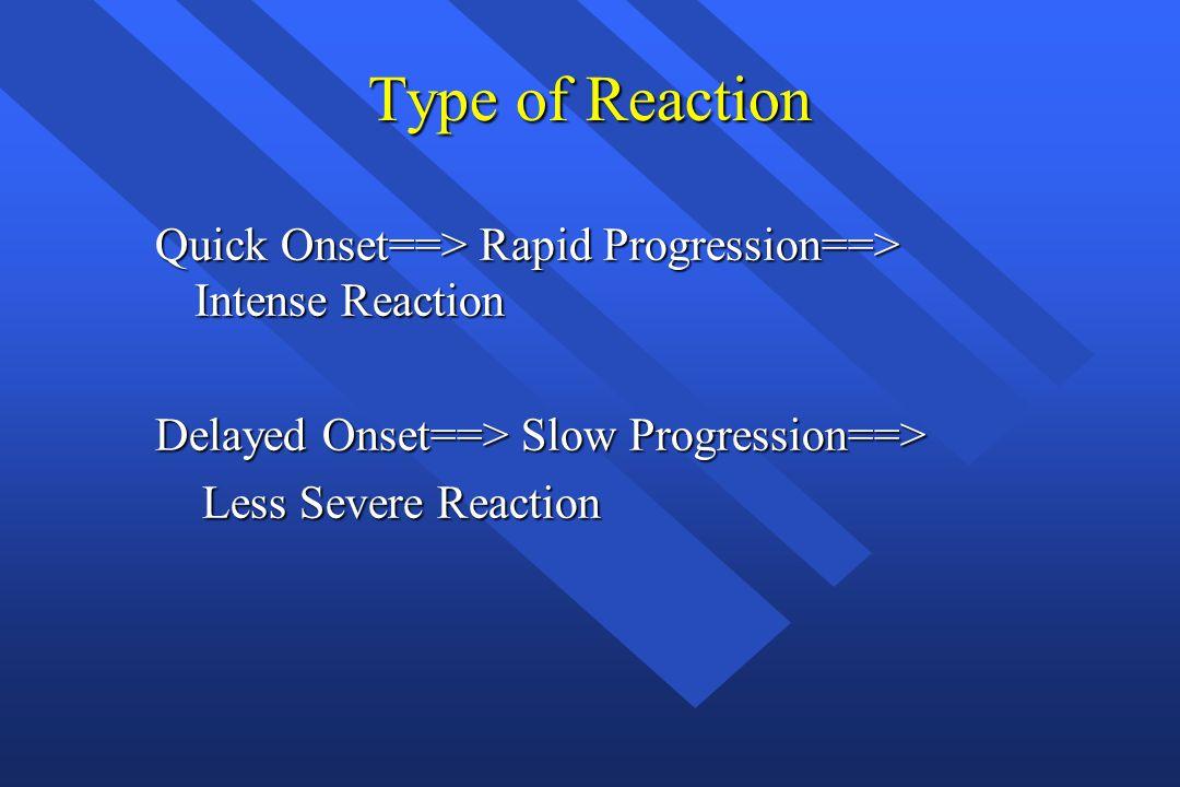 Type of Reaction Quick Onset==> Rapid Progression==> Intense Reaction Delayed Onset==> Slow Progression==> Less Severe Reaction Less Severe Reaction