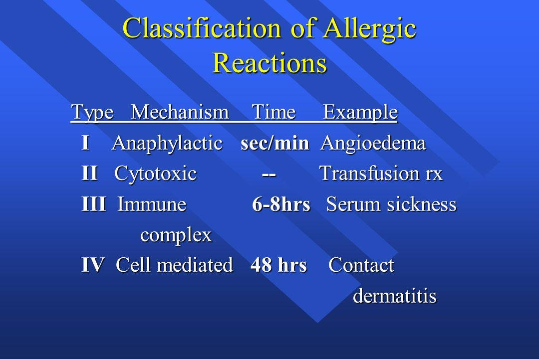 Most Common in Dental Office Type I Immediate Localized or Generalized Anaphylaxis - The Type I allergic reaction is subdivided into several forms based upon the response Immediate Localized or Generalized Anaphylaxis - The Type I allergic reaction is subdivided into several forms based upon the response Type IV Contact Dermatits Contact Dermatits
