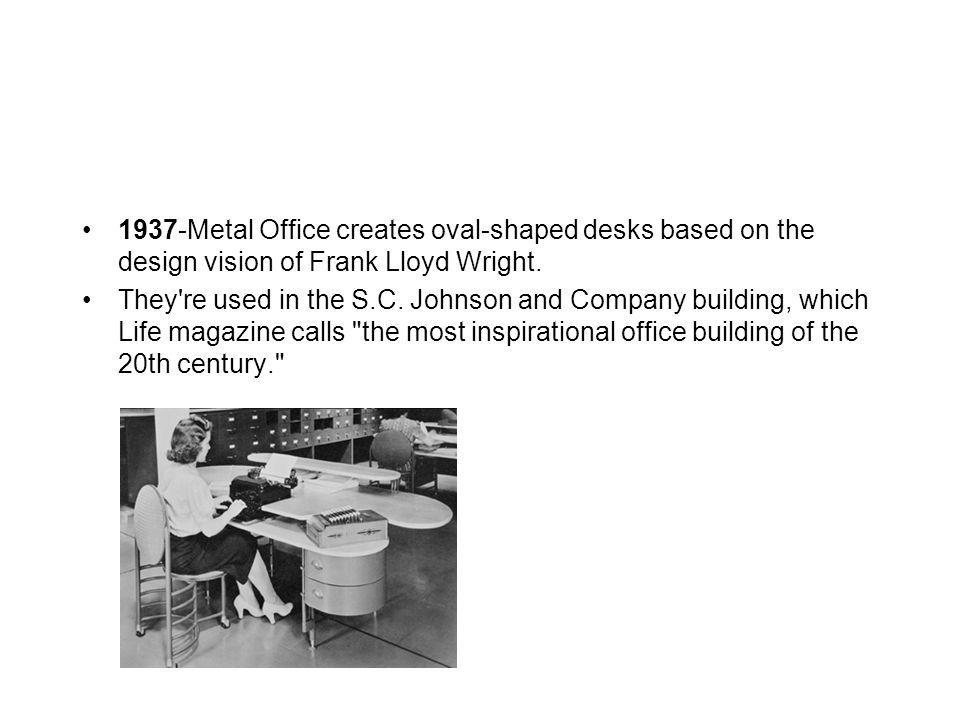 1937-Metal Office creates oval-shaped desks based on the design vision of Frank Lloyd Wright. They're used in the S.C. Johnson and Company building, w