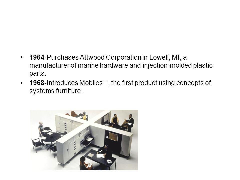 1964-Purchases Attwood Corporation in Lowell, MI, a manufacturer of marine hardware and injection-molded plastic parts. 1968-Introduces Mobiles, the f