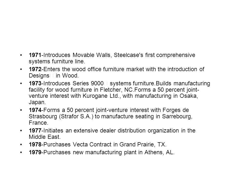 1971-Introduces Movable Walls, Steelcase's first comprehensive systems furniture line. 1972-Enters the wood office furniture market with the introduct