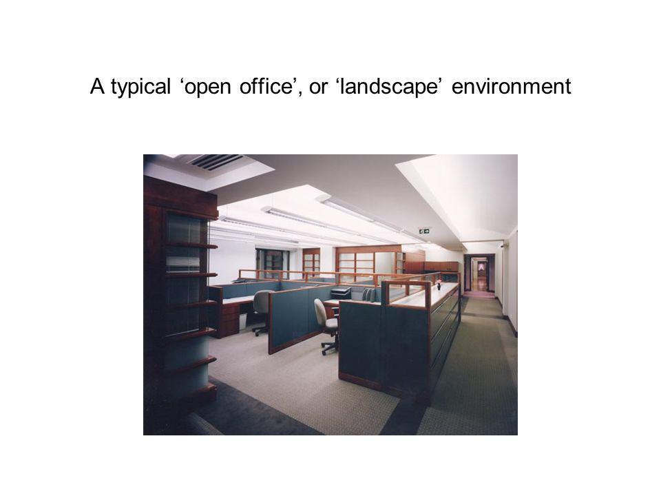A typical open office, or landscape environment