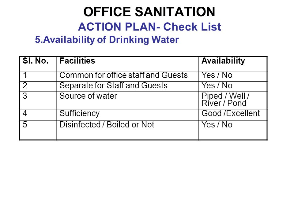 OFFICE SANITATION ACTION PLAN- Check List 5.Availability of Drinking Water Sl.