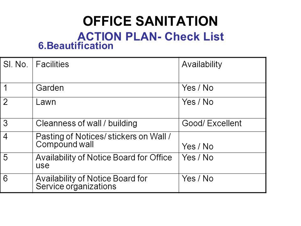 OFFICE SANITATION ACTION PLAN- Check List 6.Beautification Sl.