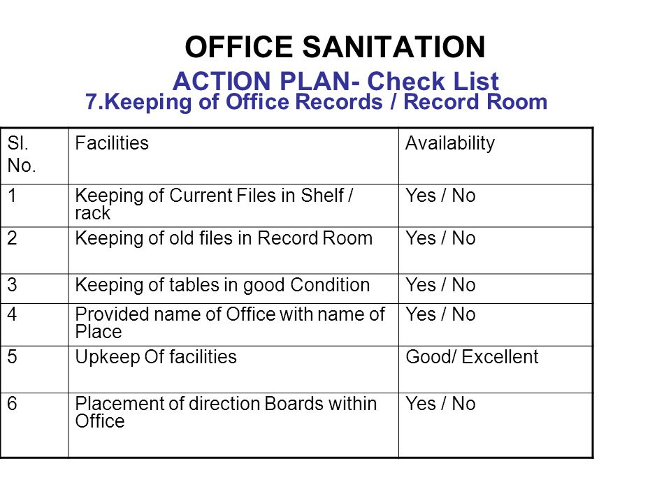 OFFICE SANITATION ACTION PLAN- Check List 7.Keeping of Office Records / Record Room Sl. No. FacilitiesAvailability 1Keeping of Current Files in Shelf