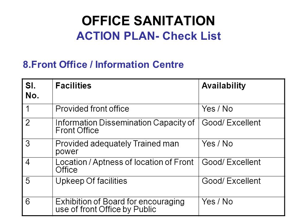 OFFICE SANITATION ACTION PLAN- Check List 8.Front Office / Information Centre Sl. No. FacilitiesAvailability 1Provided front officeYes / No 2Informati