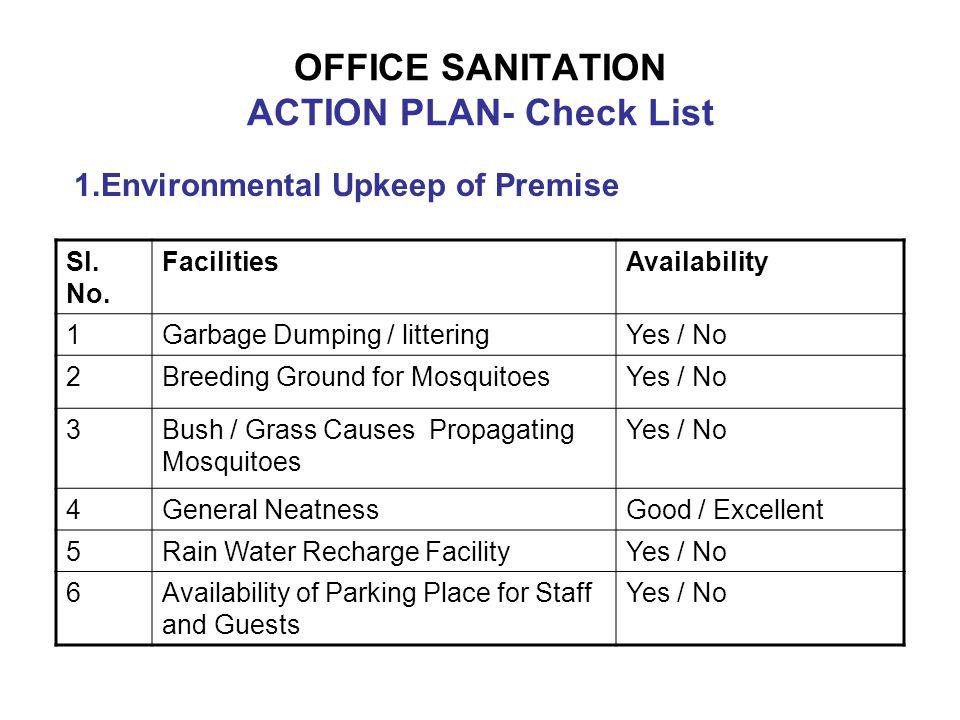 OFFICE SANITATION ACTION PLAN- Check List Sl.No.