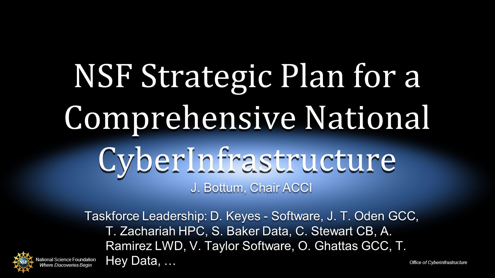 National Science Foundation Where Discoveries Begin Office of Cyberinfrastructure NSF Strategic Plan for a Comprehensive National CyberInfrastructure J.