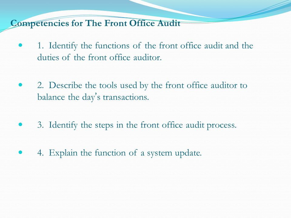 (8) Deposit cash The night auditor may be required to prepare a front office cashier shift report with all the days earnings (including cash payments, credit and debit card payments etc.) and include a cash deposit.