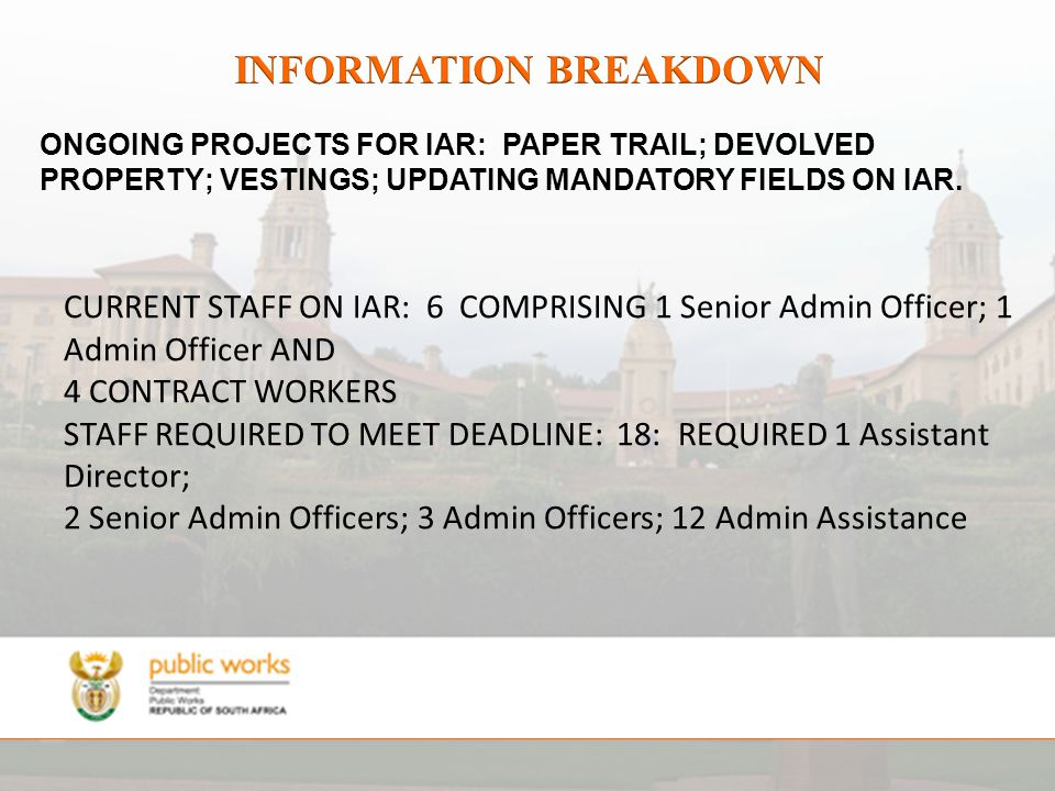 CURRENT STAFF ON IAR: 6 COMPRISING 1 Senior Admin Officer; 1 Admin Officer AND 4 CONTRACT WORKERS STAFF REQUIRED TO MEET DEADLINE: 18: REQUIRED 1 Assistant Director; 2 Senior Admin Officers; 3 Admin Officers; 12 Admin Assistance ONGOING PROJECTS FOR IAR: PAPER TRAIL; DEVOLVED PROPERTY; VESTINGS; UPDATING MANDATORY FIELDS ON IAR.