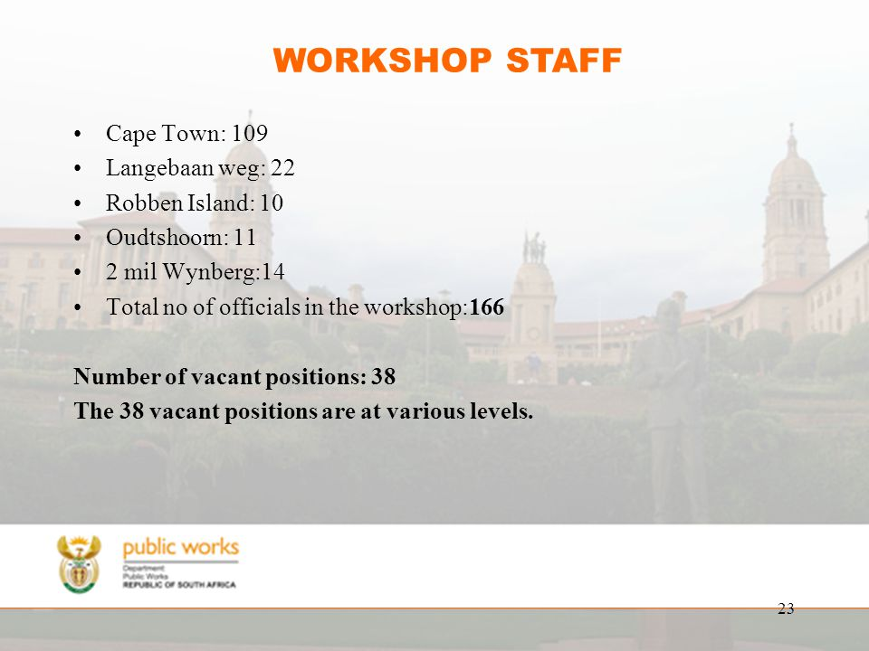 23 WORKSHOP STAFF Cape Town: 109 Langebaan weg: 22 Robben Island: 10 Oudtshoorn: 11 2 mil Wynberg:14 Total no of officials in the workshop:166 Number of vacant positions: 38 The 38 vacant positions are at various levels.