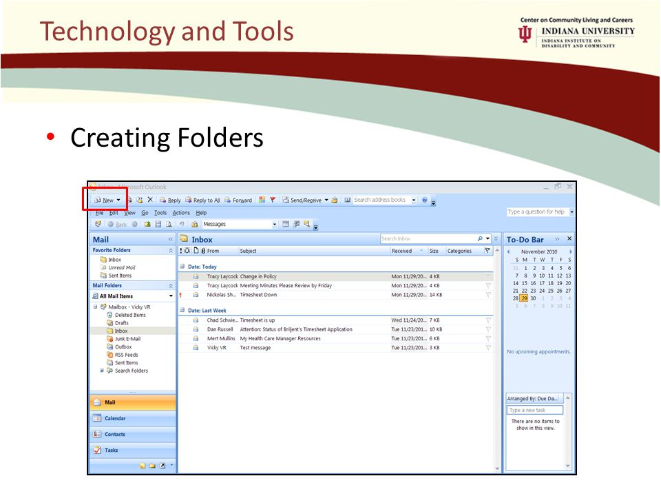 Technology and Tools Creating Folders