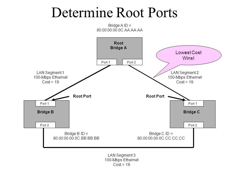 Determine Root Ports Bridge BBridge C Root Bridge A Bridge A ID = 80.00.00.00.0C.AA.AA.AA Bridge B ID = 80.00.00.00.0C.BB.BB.BB Bridge C ID = 80.00.00.00.0C.CC.CC.CC Port 1 Port 2 Port 1 Port 2 Port 1Port 2 LAN Segment 2 100-Mbps Ethernet Cost = 19 LAN Segment 1 100-Mbps Ethernet Cost = 19 LAN Segment 3 100-Mbps Ethernet Cost = 19 Root Port Lowest Cost Wins!