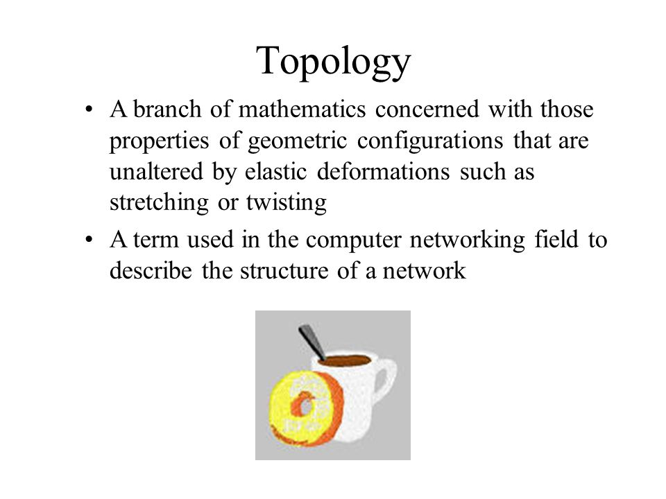 Topology A branch of mathematics concerned with those properties of geometric configurations that are unaltered by elastic deformations such as stretching or twisting A term used in the computer networking field to describe the structure of a network