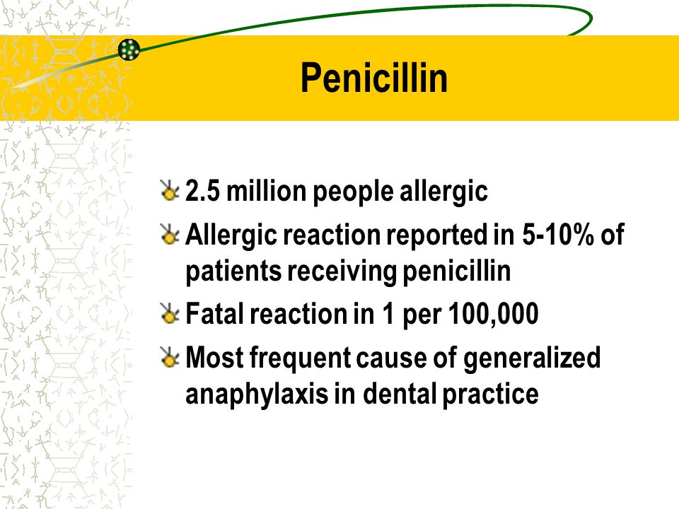 Penicillin 2.5 million people allergic Allergic reaction reported in 5-10% of patients receiving penicillin Fatal reaction in 1 per 100,000 Most frequ