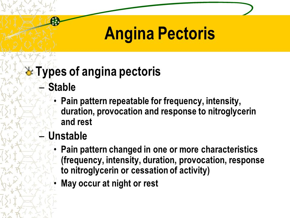 Angina Pectoris Types of angina pectoris – Stable Pain pattern repeatable for frequency, intensity, duration, provocation and response to nitroglyceri