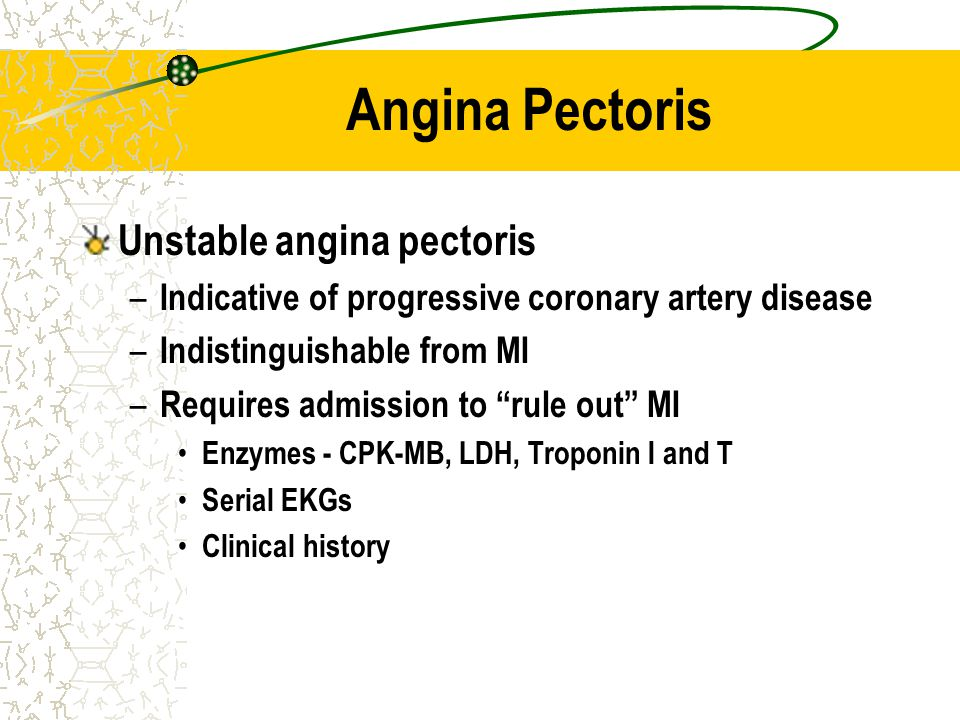 Angina Pectoris Unstable angina pectoris – Indicative of progressive coronary artery disease – Indistinguishable from MI – Requires admission to rule