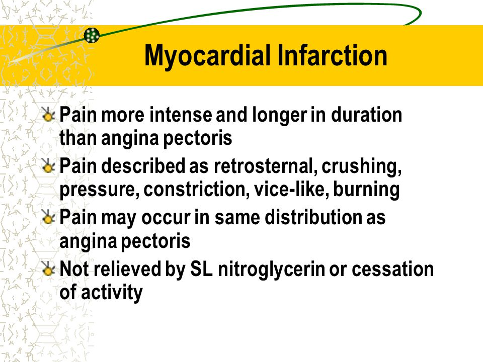 Myocardial Infarction Pain more intense and longer in duration than angina pectoris Pain described as retrosternal, crushing, pressure, constriction,