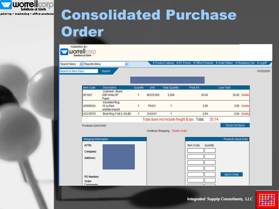 Integrated Supply Consultants, LLC Consolidated Purchase Order