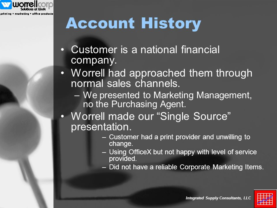 Integrated Supply Consultants, LLC Account History Customer is a national financial company.