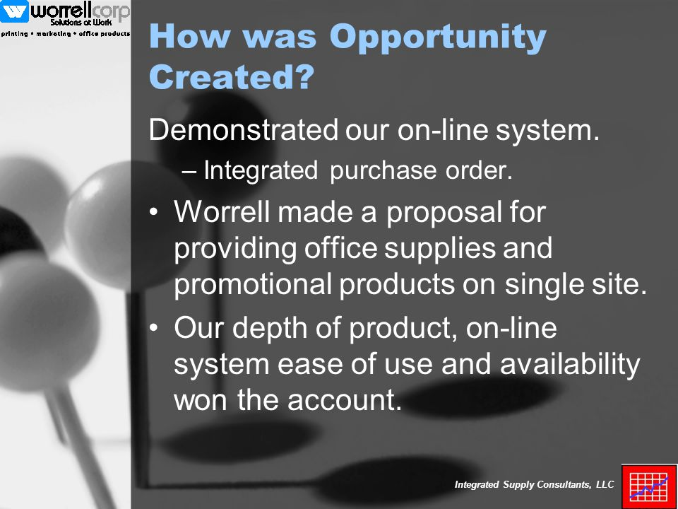 Integrated Supply Consultants, LLC How was Opportunity Created.