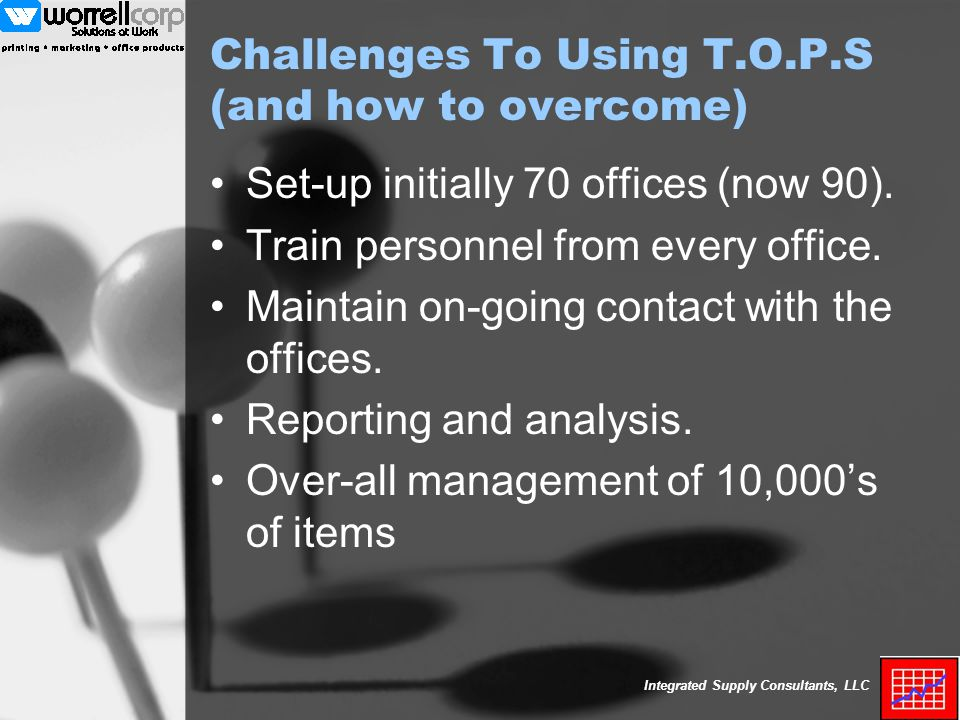 Integrated Supply Consultants, LLC Challenges To Using T.O.P.S (and how to overcome) Set-up initially 70 offices (now 90).