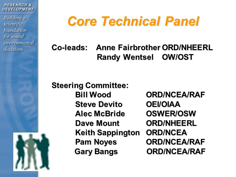 Core Technical Panel Co-leads: Anne Fairbrother ORD/NHEERL Randy Wentsel OW/OST Randy Wentsel OW/OST Steering Committee: Bill WoodORD/NCEA/RAF Steve DevitoOEI/OIAA Alec McBrideOSWER/OSW Dave MountORD/NHEERL Keith SappingtonORD/NCEA Pam Noyes ORD/NCEA/RAF Gary Bangs ORD/NCEA/RAF Gary Bangs ORD/NCEA/RAF