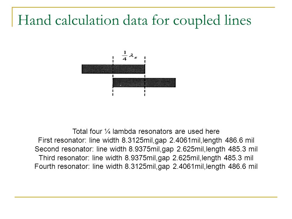 Hand calculation data for coupled lines Total four ¼ lambda resonators are used here First resonator: line width 8.3125mil,gap 2.4061mil,length 486.6 mil Second resonator: line width 8.9375mil,gap 2.625mil,length 485.3 mil Third resonator: line width 8.9375mil,gap 2.625mil,length 485.3 mil Fourth resonator: line width 8.3125mil,gap 2.4061mil,length 486.6 mil