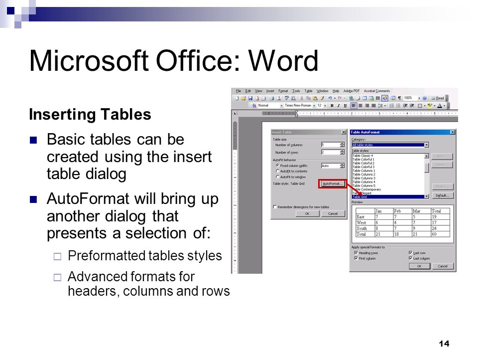 14 Microsoft Office: Word Inserting Tables Basic tables can be created using the insert table dialog AutoFormat will bring up another dialog that presents a selection of: Preformatted tables styles Advanced formats for headers, columns and rows