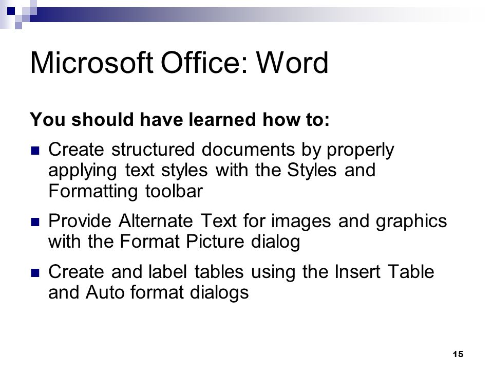15 Microsoft Office: Word You should have learned how to: Create structured documents by properly applying text styles with the Styles and Formatting toolbar Provide Alternate Text for images and graphics with the Format Picture dialog Create and label tables using the Insert Table and Auto format dialogs