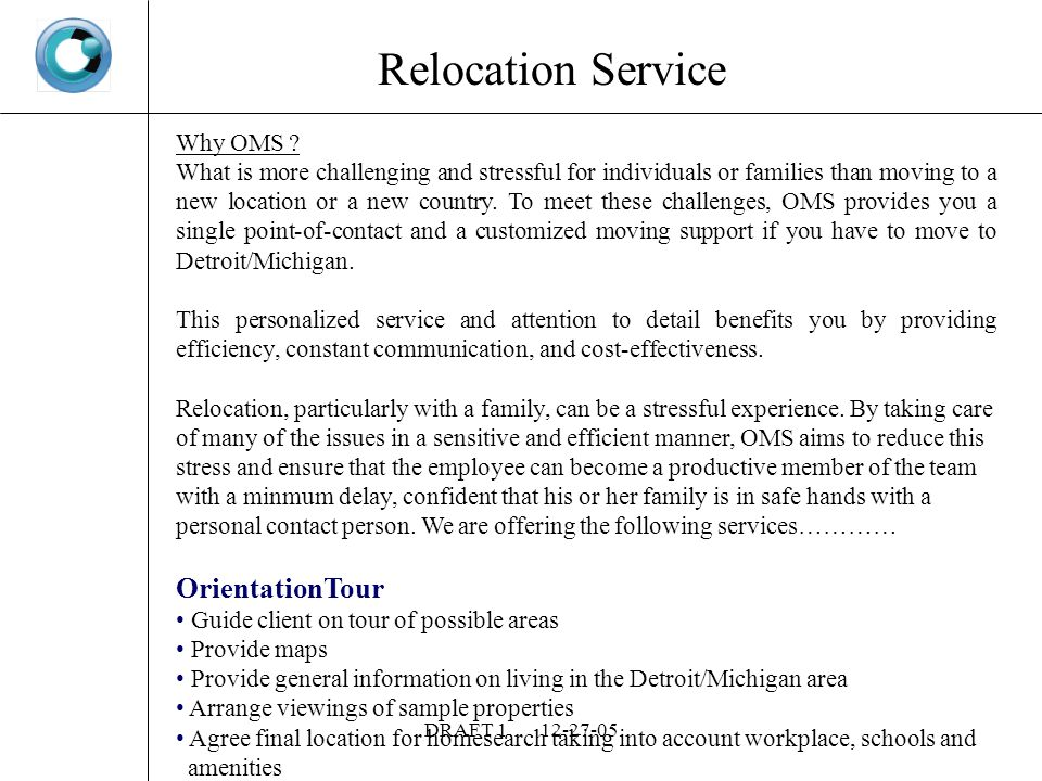 DRAFT Relocation Service Why OMS .