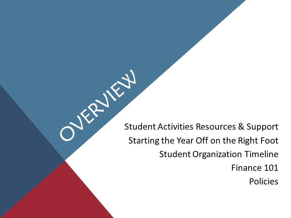 STUDENT ACTIVITIES ACCOUNTS Available to any Student Government-recognized organization Two accounts per organization Org Account: general account for day-to-day expenses, JFC allocation lives here Gift Account: all donation monies deposited here, gift account money CANNOT be transferred to your org account