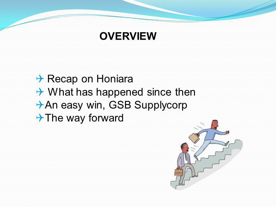 Recap on Honiara What has happened since then An easy win, GSB Supplycorp The way forward OVERVIEW