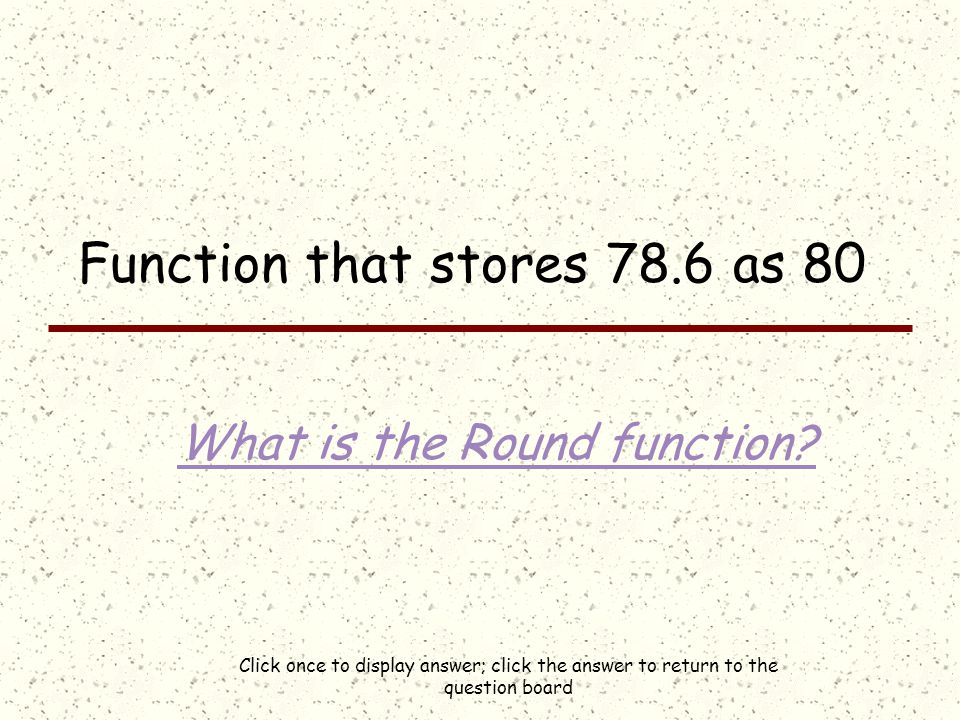 Click once to display answer; click the answer to return to the question board Normal, Heading1, or Body Text, for example What are (built-in) styles