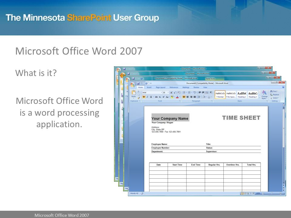 What is it Microsoft Office Word is a word processing application.