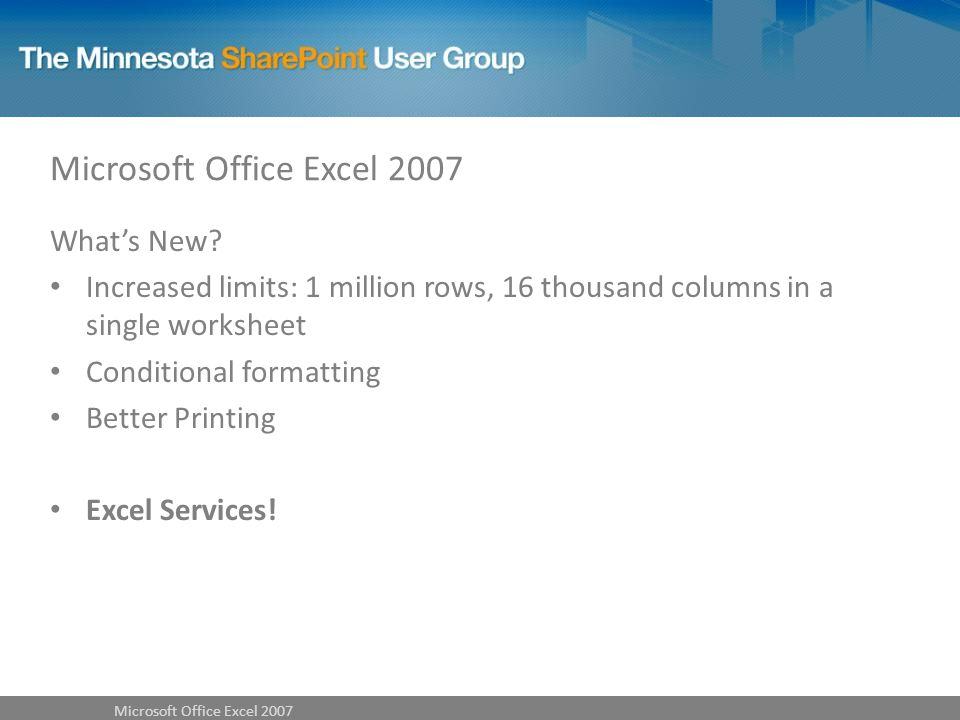 Microsoft Office Excel 2007 Whats New.