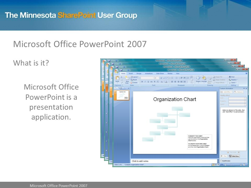 What is it Microsoft Office PowerPoint is a presentation application.