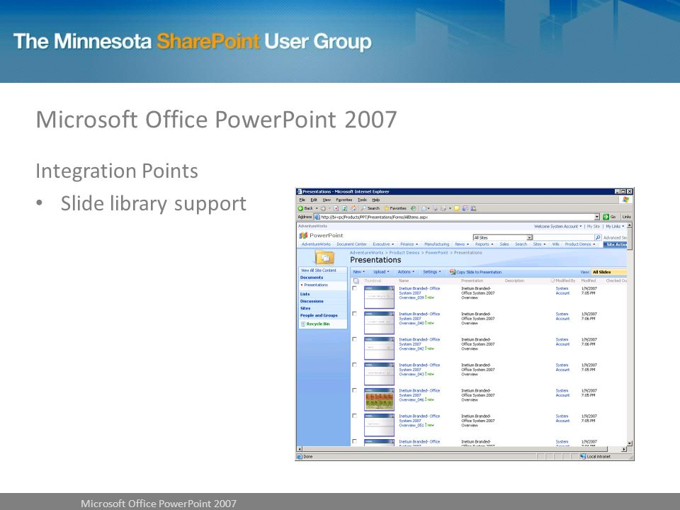 Integration Points Slide library support Microsoft Office PowerPoint 2007