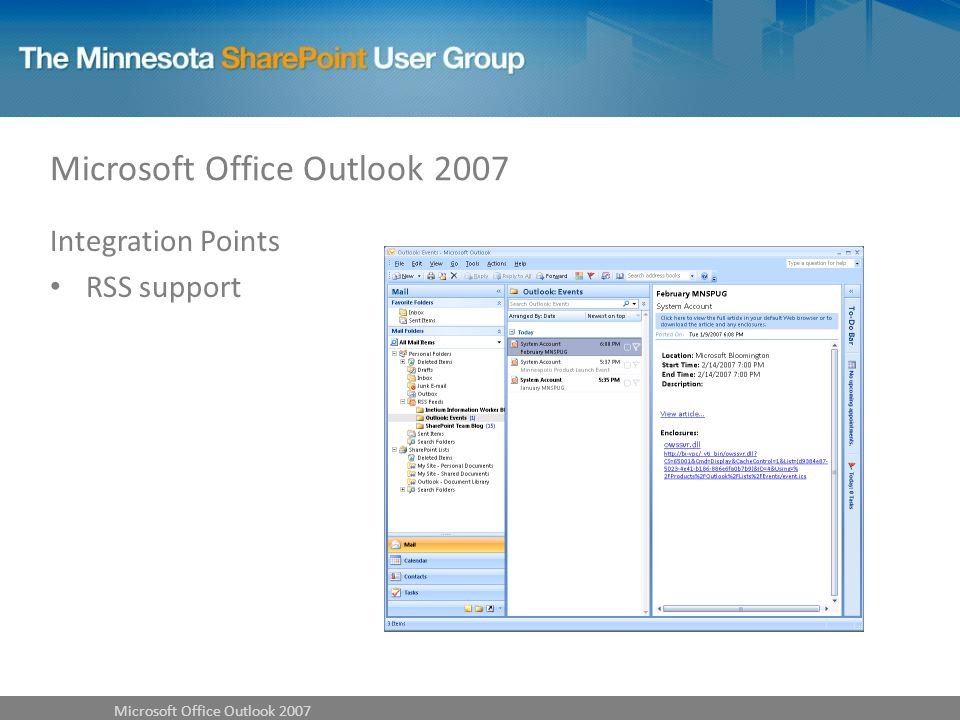 Integration Points RSS support Microsoft Office Outlook 2007