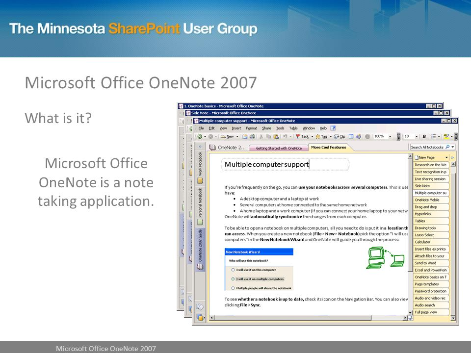 What is it? Microsoft Office OneNote is a note taking application.