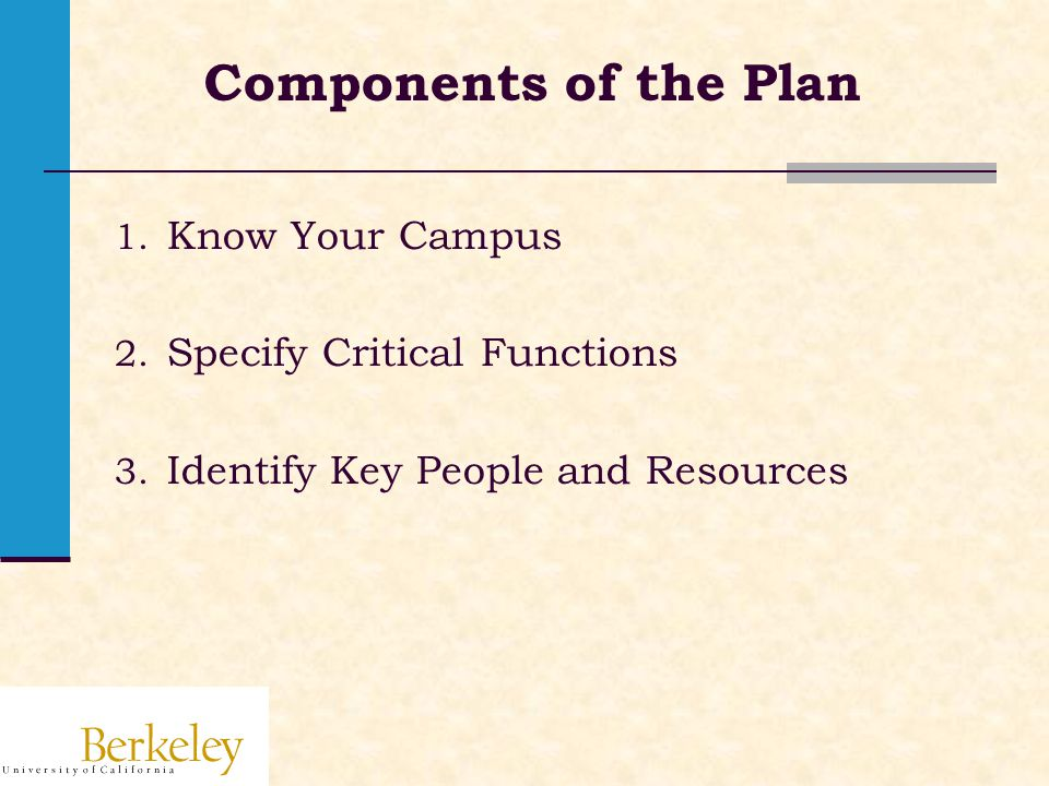 Components of the Plan 1. Know Your Campus 2. Specify Critical Functions 3.