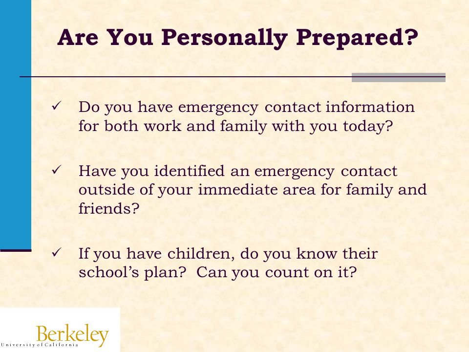 Are You Personally Prepared.