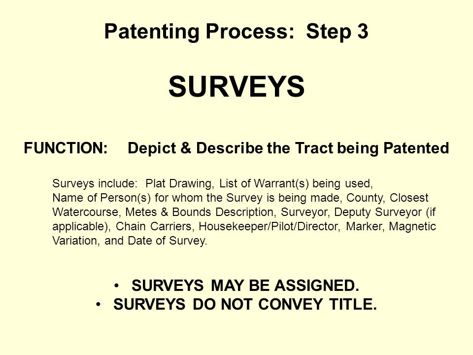 Patenting Process: Step 3 SURVEYS FUNCTION: Depict & Describe the Tract being Patented Surveys include: Plat Drawing, List of Warrant(s) being used, N